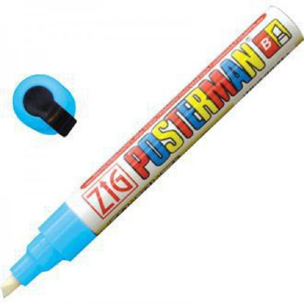 Securit Zig Posterman wetterfester Kreidestift 6mm hellblau